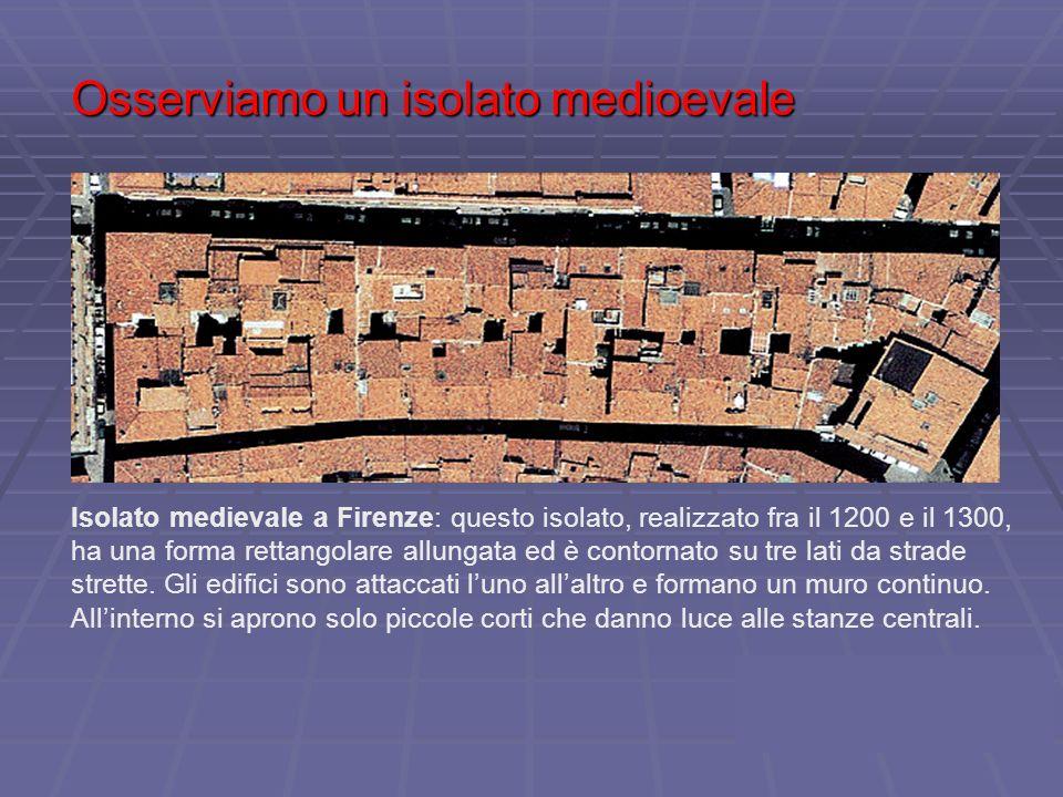 Osserviamo un isolato medioevale Isolato medievale a Firenze: questo isolato, realizzato fra il 1200 e il 1300, ha una forma rettangolare allungata ed