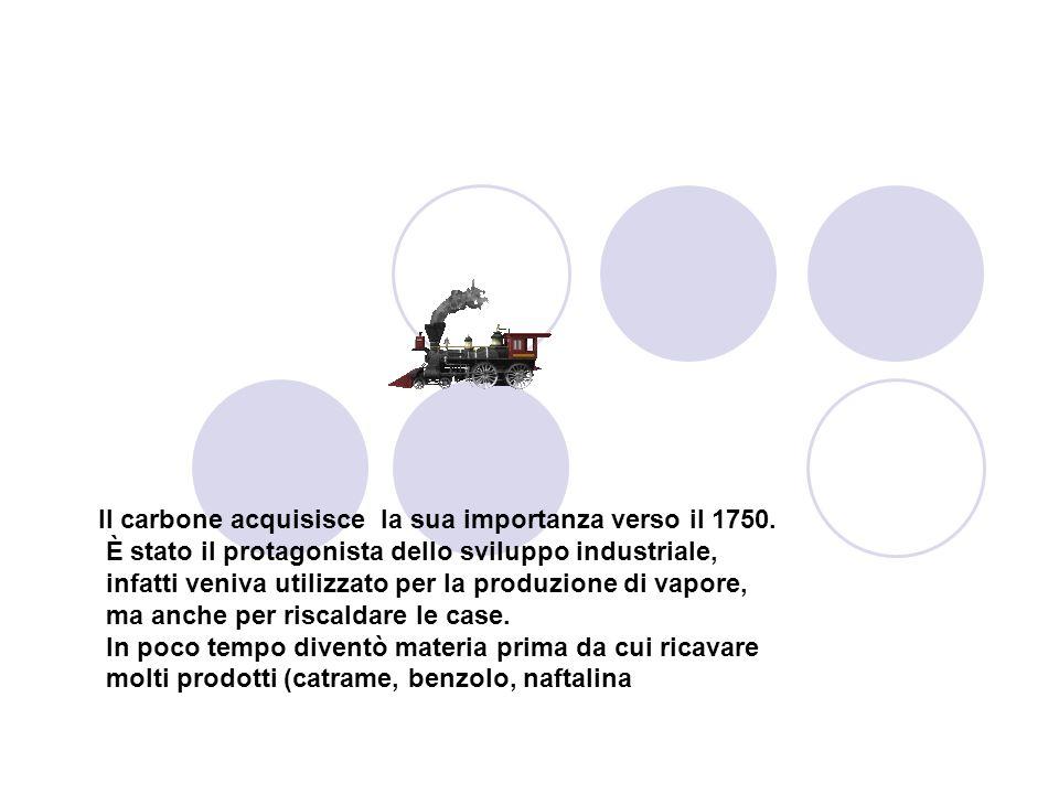 Il carbone acquisisce la sua importanza verso il 1750. È stato il protagonista dello sviluppo industriale, infatti veniva utilizzato per la produzione