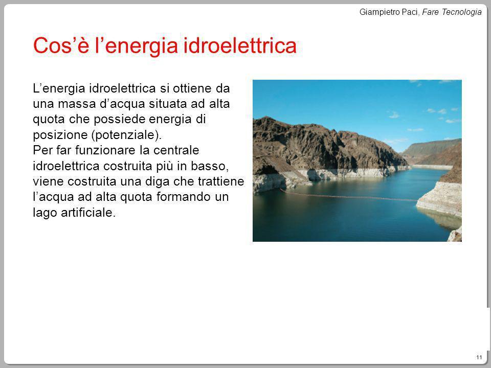 11 Giampietro Paci, Fare Tecnologia Cosè lenergia idroelettrica Lenergia idroelettrica si ottiene da una massa dacqua situata ad alta quota che possie