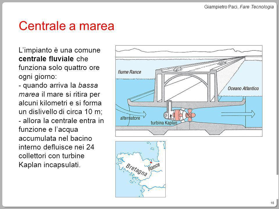 16 Giampietro Paci, Fare Tecnologia Centrale a marea Limpianto è una comune centrale fluviale che funziona solo quattro ore ogni giorno: - quando arri