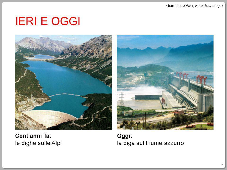 2 Giampietro Paci, Fare Tecnologia IERI E OGGI Centanni fa: le dighe sulle Alpi Oggi: la diga sul Fiume azzurro