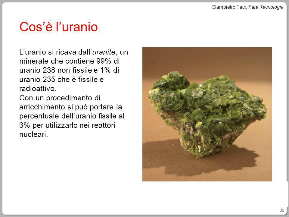 23 Giampietro Paci, Fare Tecnologia Cosè luranio Luranio si ricava dalluranite, un minerale che contiene 99% di uranio 238 non fissile e 1% di uranio