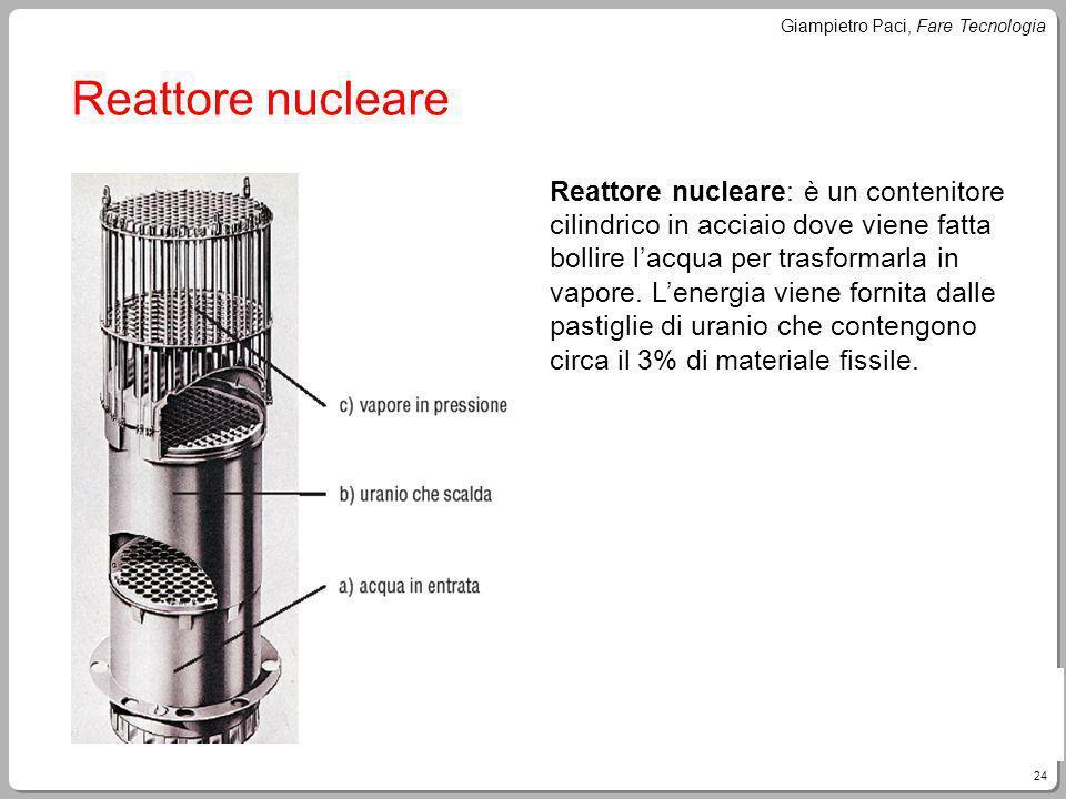 24 Giampietro Paci, Fare Tecnologia Reattore nucleare Reattore nucleare: è un contenitore cilindrico in acciaio dove viene fatta bollire lacqua per tr