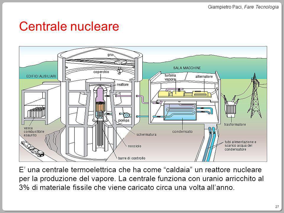 27 Giampietro Paci, Fare Tecnologia Centrale nucleare E una centrale termoelettrica che ha come caldaia un reattore nucleare per la produzione del vap
