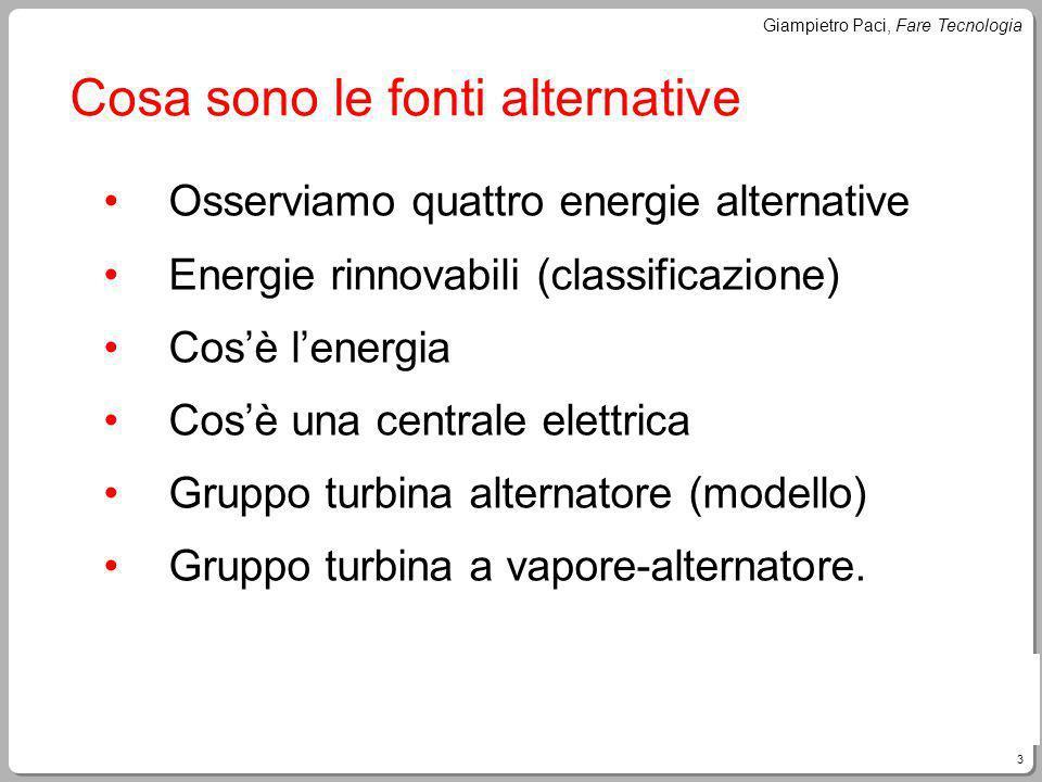 3 Giampietro Paci, Fare Tecnologia Cosa sono le fonti alternative Osserviamo quattro energie alternative Energie rinnovabili (classificazione) Cosè le