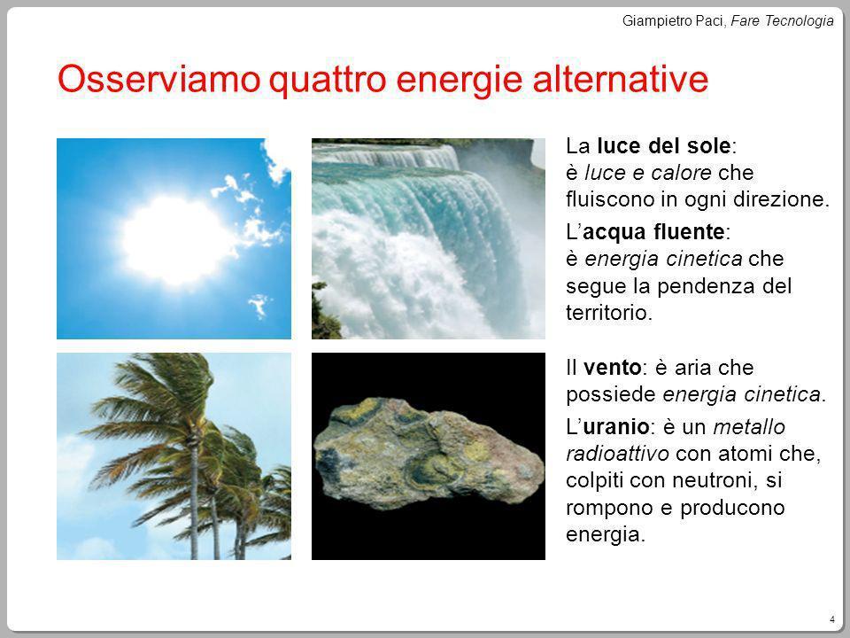 4 Giampietro Paci, Fare Tecnologia Osserviamo quattro energie alternative La luce del sole: è luce e calore che fluiscono in ogni direzione. Lacqua fl