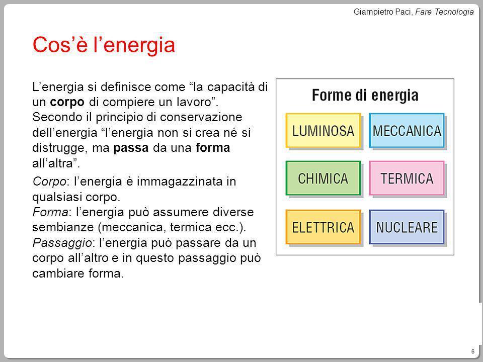 6 Giampietro Paci, Fare Tecnologia Cosè lenergia Lenergia si definisce come la capacità di un corpo di compiere un lavoro. Secondo il principio di con