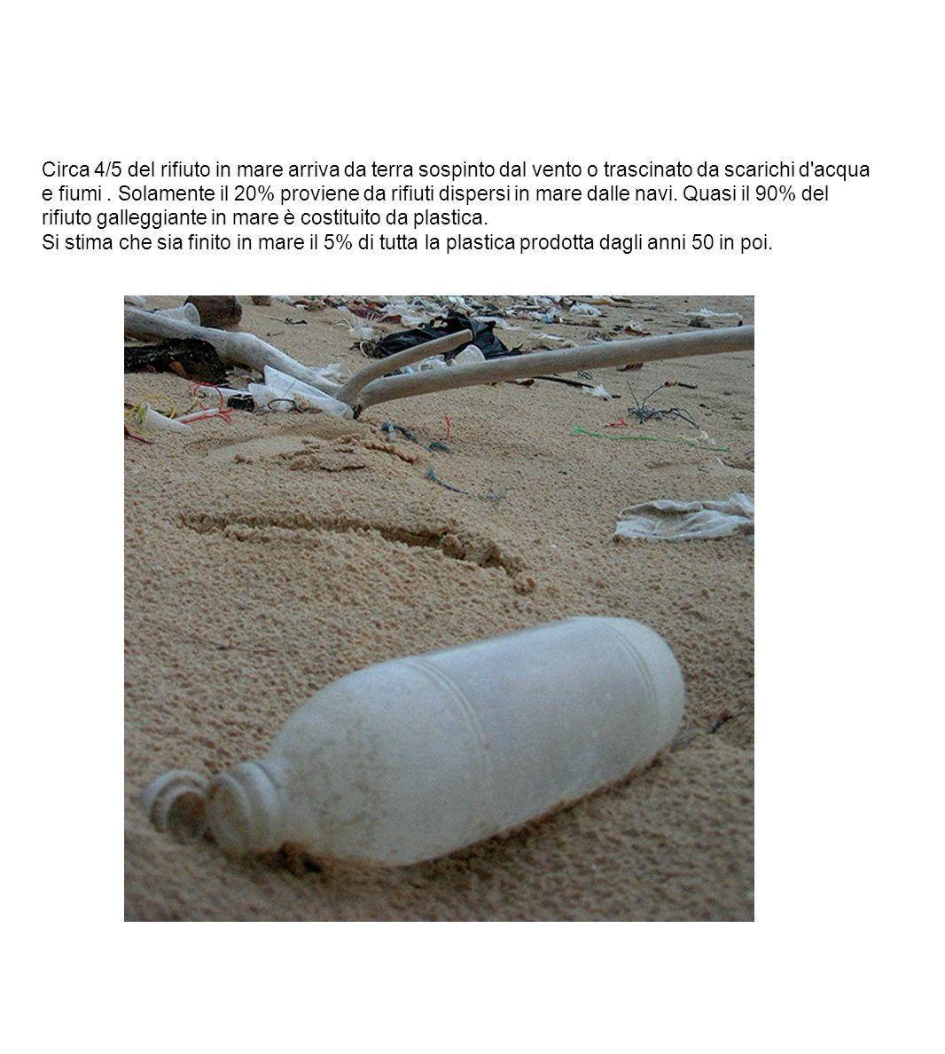 Circa 4/5 del rifiuto in mare arriva da terra sospinto dal vento o trascinato da scarichi d'acqua e fiumi. Solamente il 20% proviene da rifiuti disper