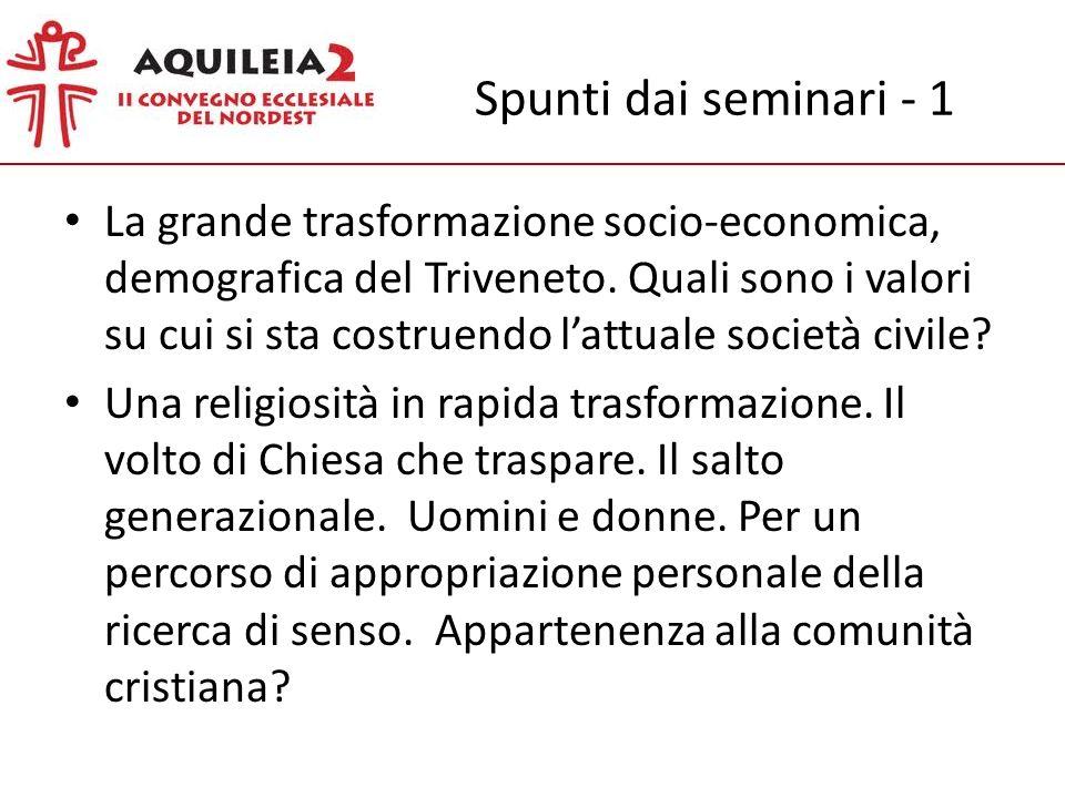 Spunti dai seminari - 1 La grande trasformazione socio-economica, demografica del Triveneto.