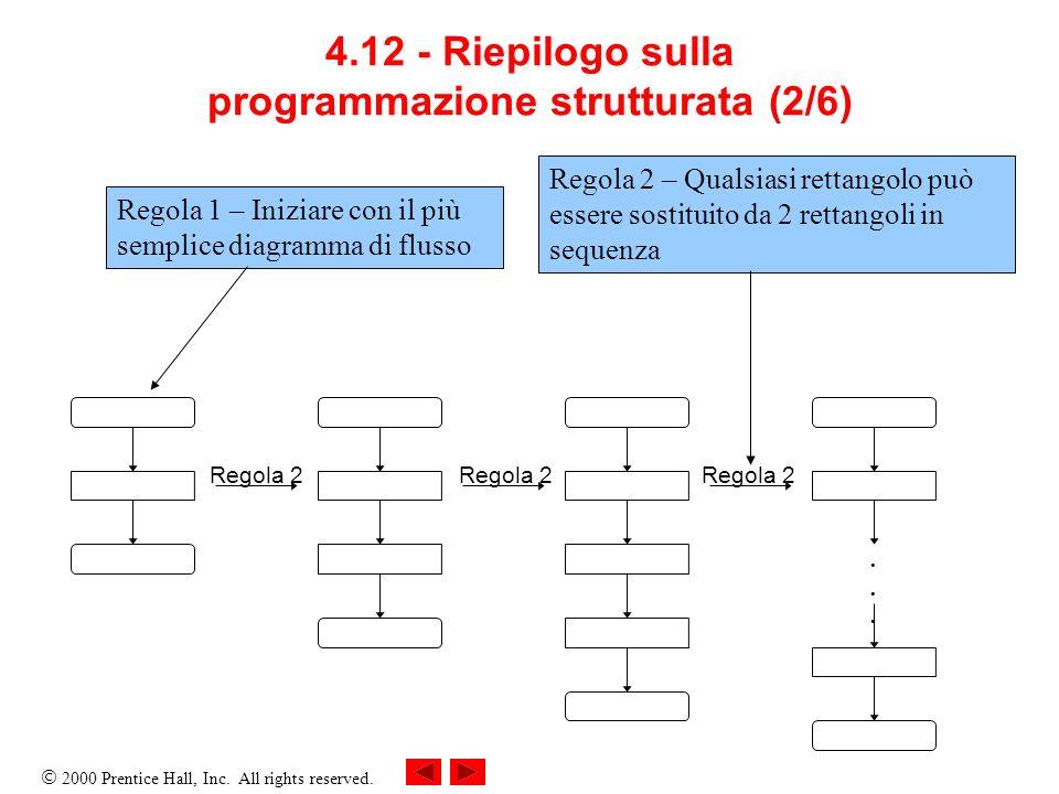 2000 Prentice Hall, Inc. All rights reserved. 4.12 - Riepilogo sulla programmazione strutturata (2/6)...... Regola 2 Regola 1 – Iniziare con il più se