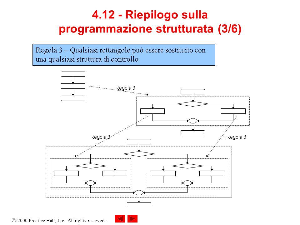 2000 Prentice Hall, Inc. All rights reserved. 4.12 - Riepilogo sulla programmazione strutturata (3/6) Regola 3 Regola 3 – Qualsiasi rettangolo può ess