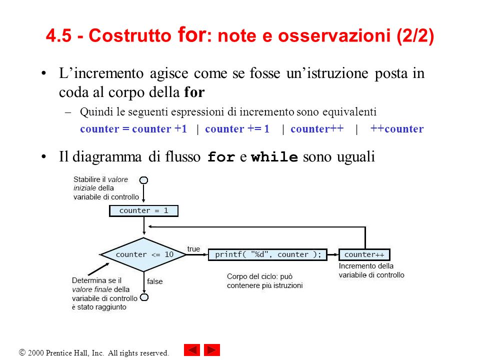 2000 Prentice Hall, Inc. All rights reserved. 4.5 - Costrutto for : note e osservazioni (2/2) Lincremento agisce come se fosse unistruzione posta in c