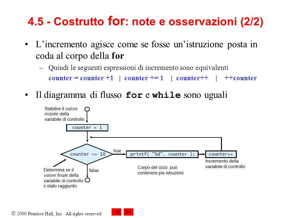 2000 Prentice Hall, Inc.All rights reserved. 4.6 - Esempio di utilizzo del costrutto for 1/* Fig.