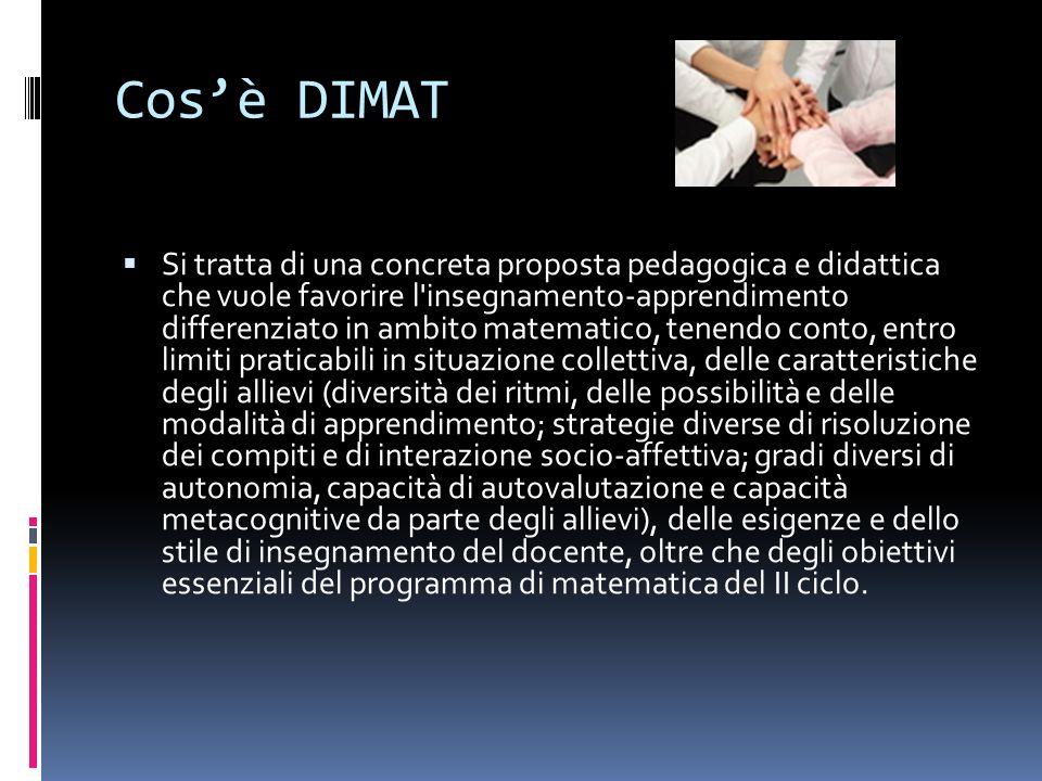 La proposta DIMAT propone la traduzione concreta, operativa, in termini di prestazione, utile per la programmazione del docente e comprensibile tanto per i genitori che per gli allievi, in vista di una graduale assunzione del loro apprendere, degli obiettivi di padronanza del Programma.