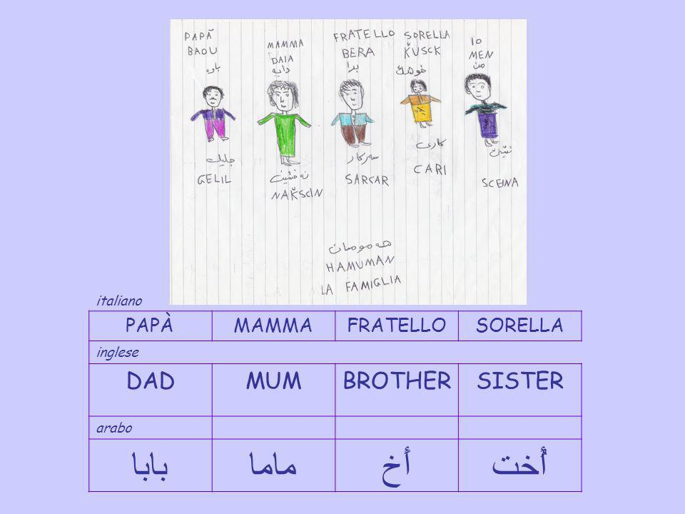 عَائِلة FAMIGLIAFAMILY araboitalianoinglese Arabo – italiano -inglese