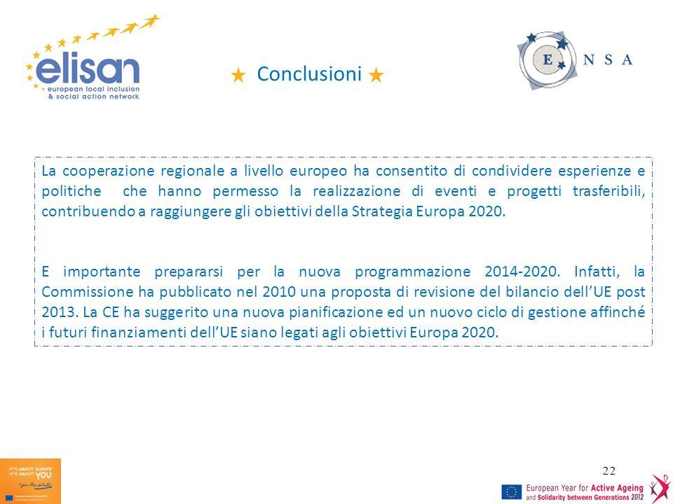 22 Conclusioni La cooperazione regionale a livello europeo ha consentito di condividere esperienze e politiche che hanno permesso la realizzazione di eventi e progetti trasferibili, contribuendo a raggiungere gli obiettivi della Strategia Europa 2020.