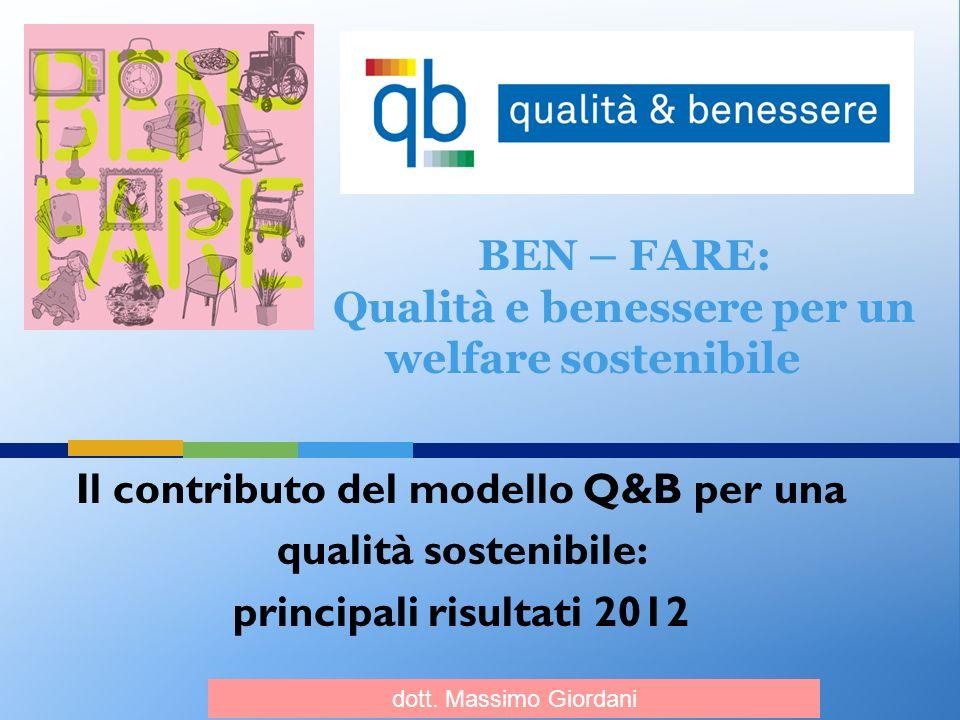 Il contributo del modello Q&B per una qualità sostenibile: principali risultati 2012 BEN – FARE: Qualità e benessere per un welfare sostenibile dott.