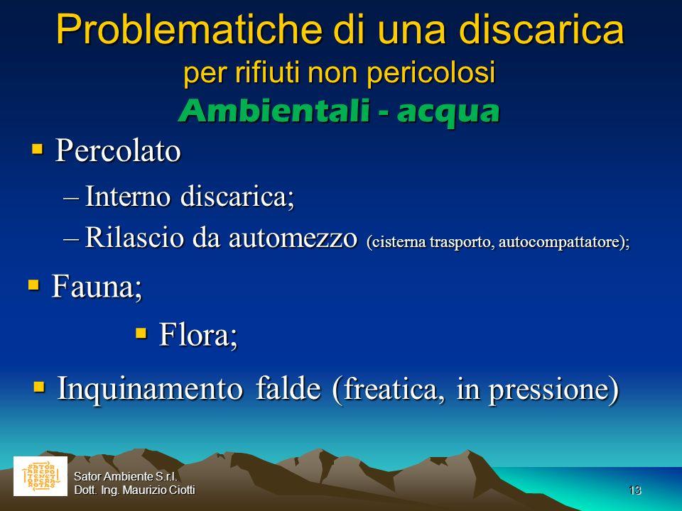 13 Problematiche di una discarica per rifiuti non pericolosi Ambientali - acqua Percolato Percolato –Interno discarica; –Rilascio da automezzo (cister