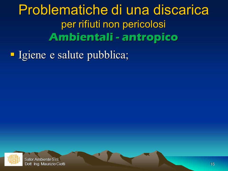 15 Problematiche di una discarica per rifiuti non pericolosi Ambientali - antropico Igiene e salute pubblica; Igiene e salute pubblica; Sator Ambiente
