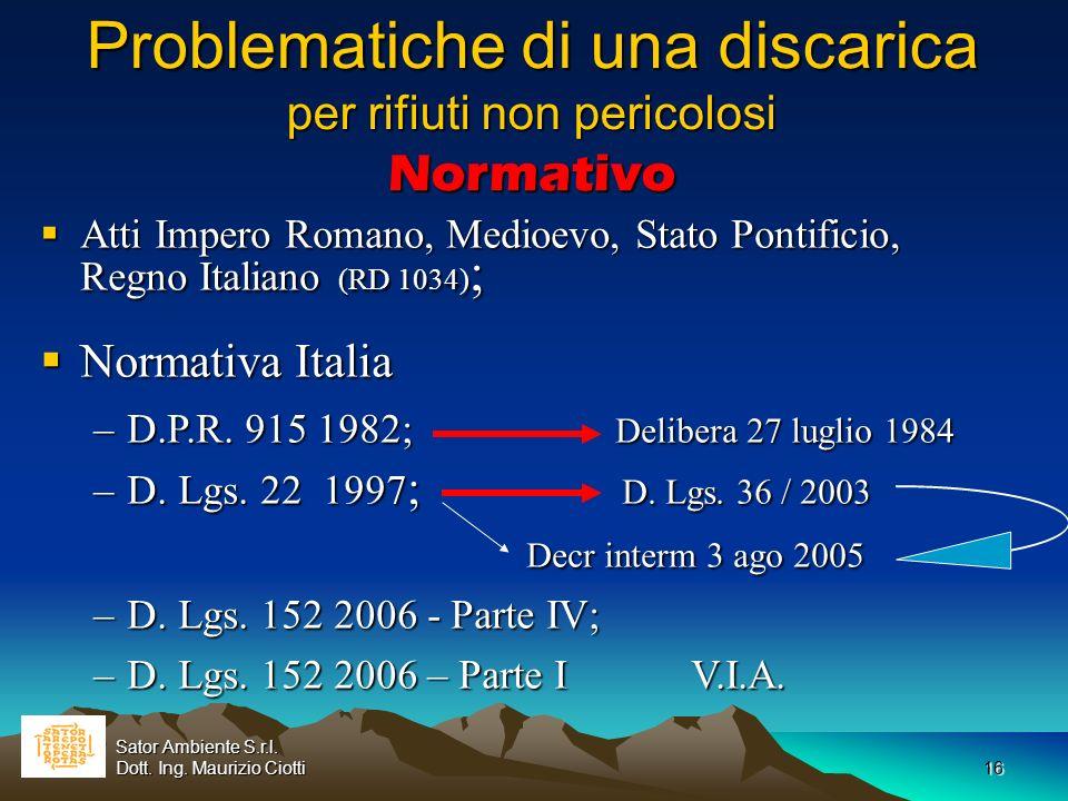 16 Problematiche di una discarica per rifiuti non pericolosi Normativo Atti Impero Romano, Medioevo, Stato Pontificio, Regno Italiano (RD 1034) ; Atti