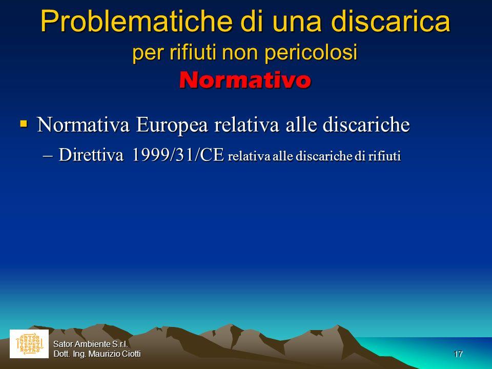 17 Problematiche di una discarica per rifiuti non pericolosi Normativo Normativa Europea relativa alle discariche Normativa Europea relativa alle disc