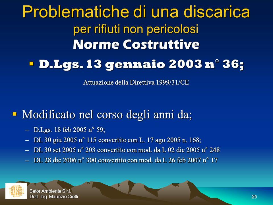 20 Problematiche di una discarica per rifiuti non pericolosi Norme Costruttive D.Lgs. 13 gennaio 2003 n° 36; D.Lgs. 13 gennaio 2003 n° 36; Attuazione