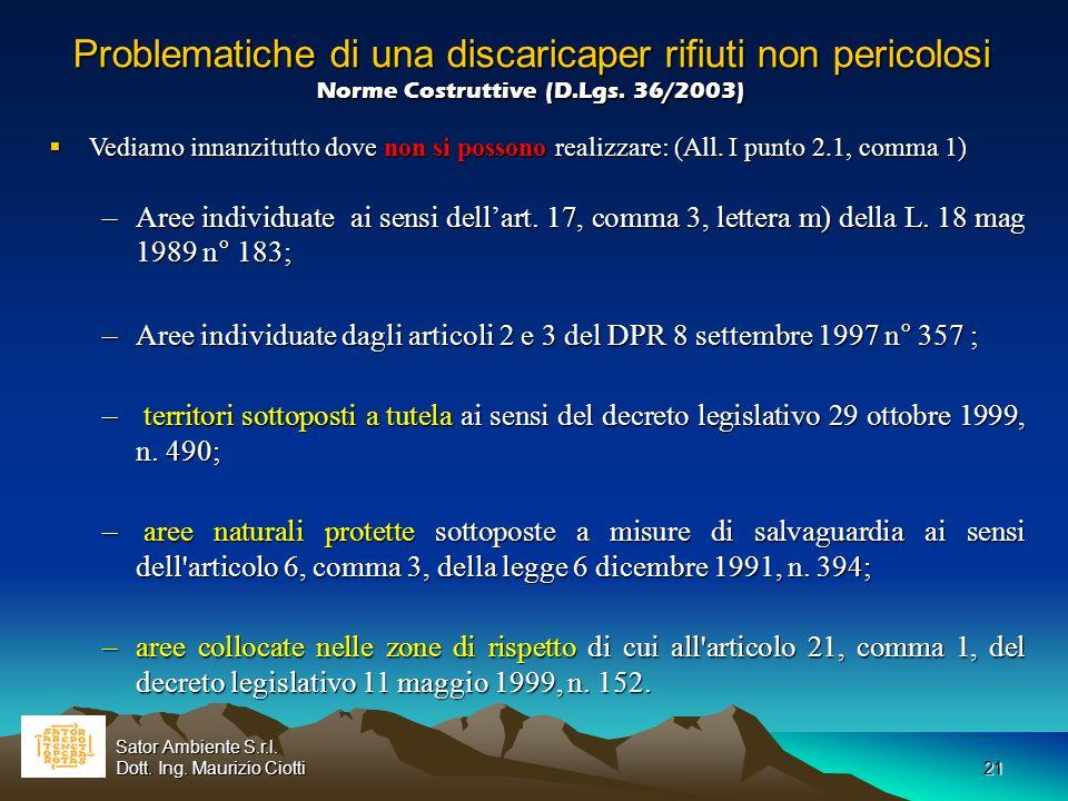21 Problematiche di una discaricaper rifiuti non pericolosi Norme Costruttive (D.Lgs. 36/2003) Problematiche di una discaricaper rifiuti non pericolos