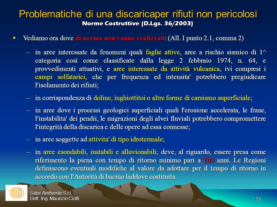 22 Problematiche di una discaricaper rifiuti non pericolosi Norme Costruttive (D.Lgs. 36/2003) Problematiche di una discaricaper rifiuti non pericolos