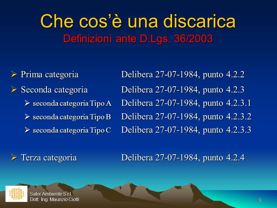 3 Che cosè una discarica Definizioni ante D.Lgs. 36/2003 Prima categoria Delibera 27-07-1984, punto 4.2.2 Prima categoria Delibera 27-07-1984, punto 4