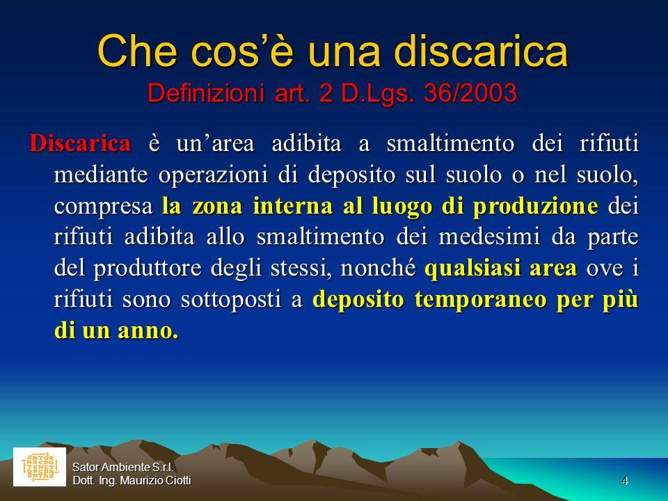 4 Che cosè una discarica Definizioni art. 2 D.Lgs. 36/2003 Discarica è unarea adibita a smaltimento dei rifiuti mediante operazioni di deposito sul su