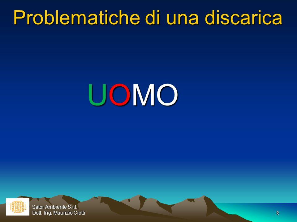 8 Problematiche di una discarica UOMO Sator Ambiente S.r.l. Dott. Ing. Maurizio Ciotti