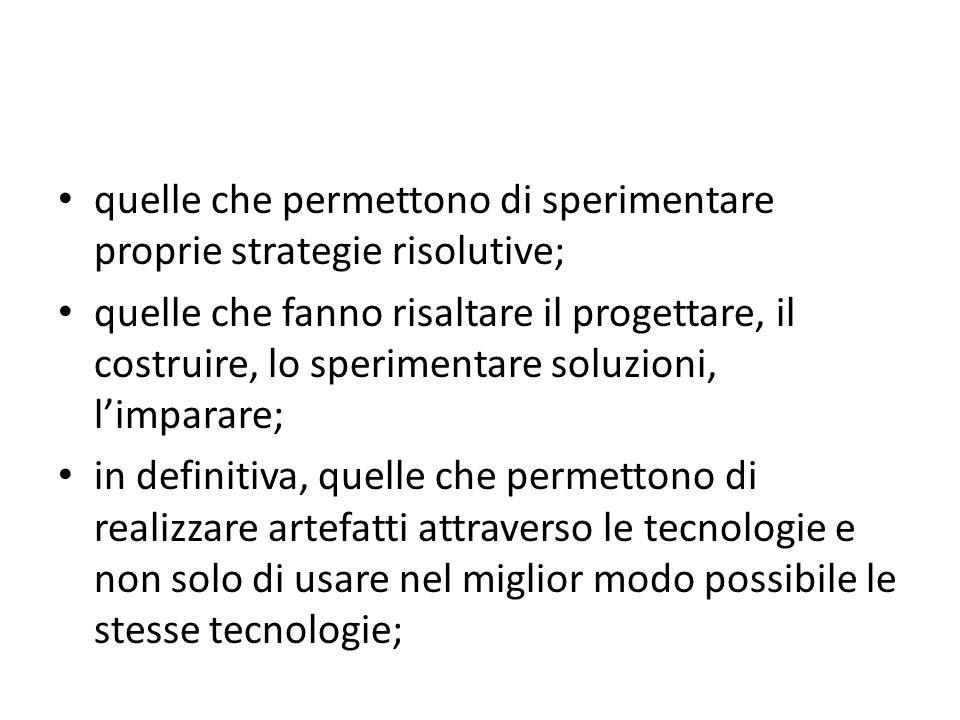 quelle che permettono di sperimentare proprie strategie risolutive; quelle che fanno risaltare il progettare, il costruire, lo sperimentare soluzioni,