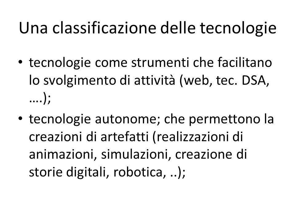 Una classificazione delle tecnologie tecnologie come strumenti che facilitano lo svolgimento di attività (web, tec. DSA, ….); tecnologie autonome; che