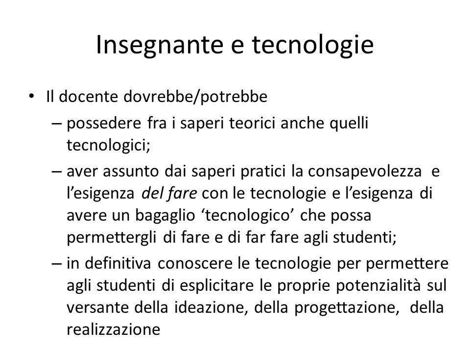 Il docente dovrebbe/potrebbe – possedere fra i saperi teorici anche quelli tecnologici; – aver assunto dai saperi pratici la consapevolezza e lesigenz