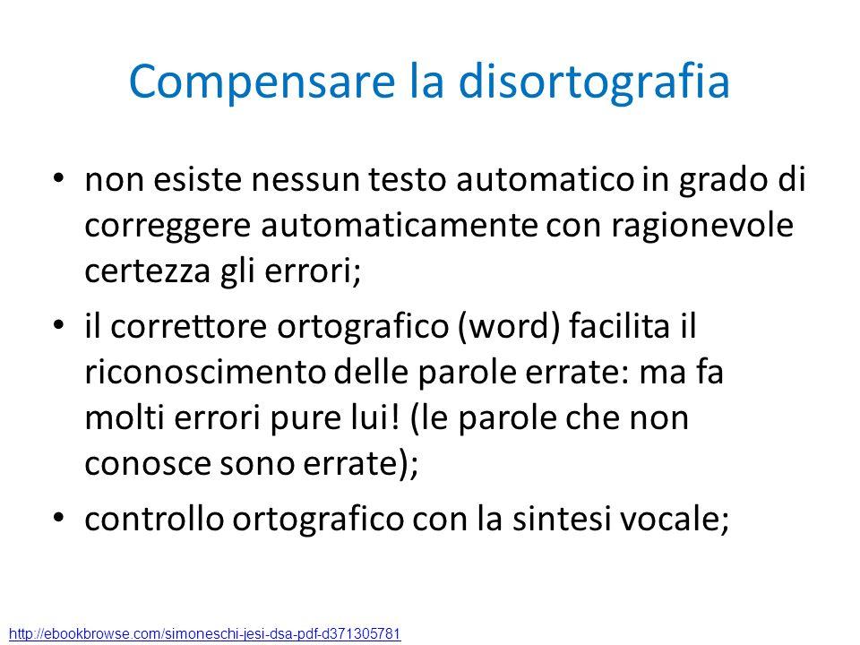Compensare la disortografia non esiste nessun testo automatico in grado di correggere automaticamente con ragionevole certezza gli errori; il corretto