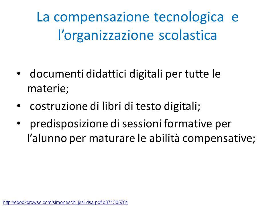 La compensazione tecnologica e lorganizzazione scolastica documenti didattici digitali per tutte le materie; costruzione di libri di testo digitali; p
