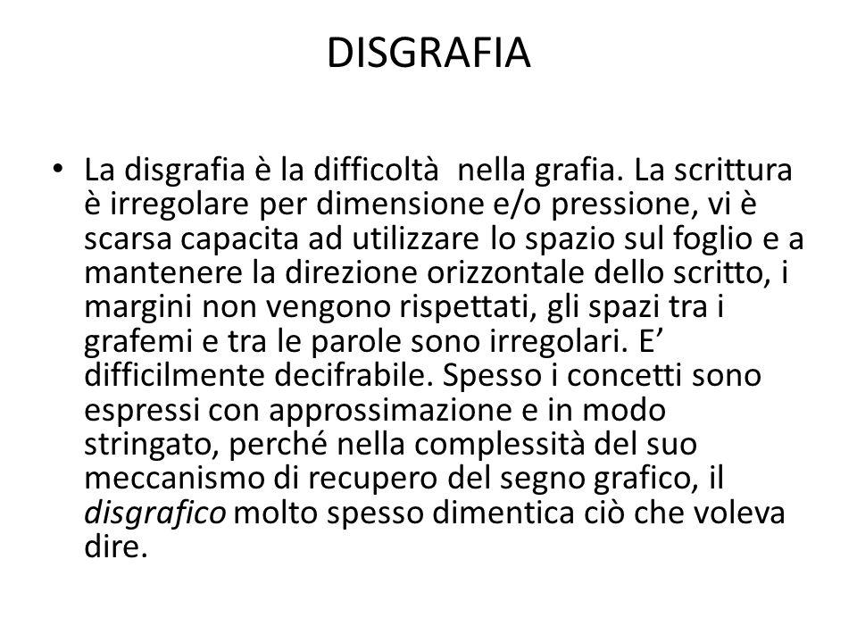 DISGRAFIA La disgrafia è la difficoltà nella grafia. La scrittura è irregolare per dimensione e/o pressione, vi è scarsa capacita ad utilizzare lo spa