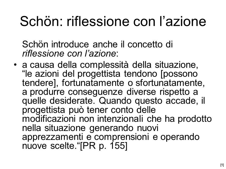 Schön introduce anche il concetto di riflessione con lazione: a causa della complessità della situazione, le azioni del progettista tendono [possono t