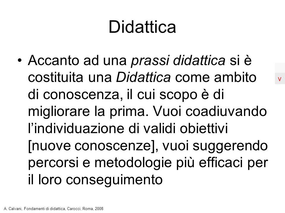 Accanto ad una prassi didattica si è costituita una Didattica come ambito di conoscenza, il cui scopo è di migliorare la prima. Vuoi coadiuvando lindi