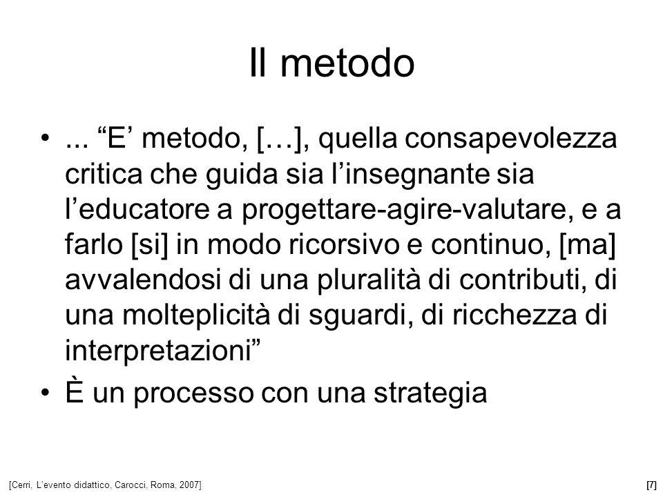 Il metodo... E metodo, […], quella consapevolezza critica che guida sia linsegnante sia leducatore a progettare-agire-valutare, e a farlo [si] in modo