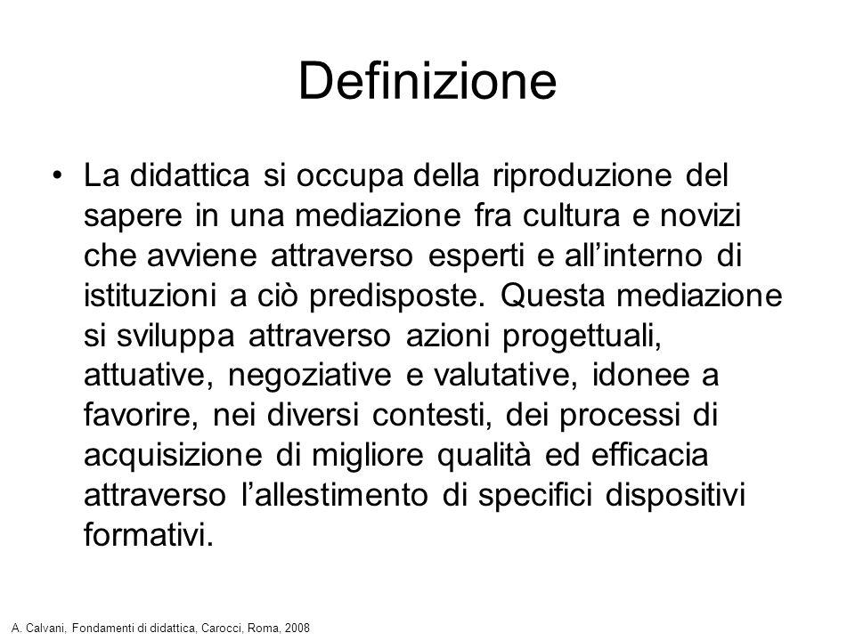 Definizione La didattica si occupa della riproduzione del sapere in una mediazione fra cultura e novizi che avviene attraverso esperti e allinterno di