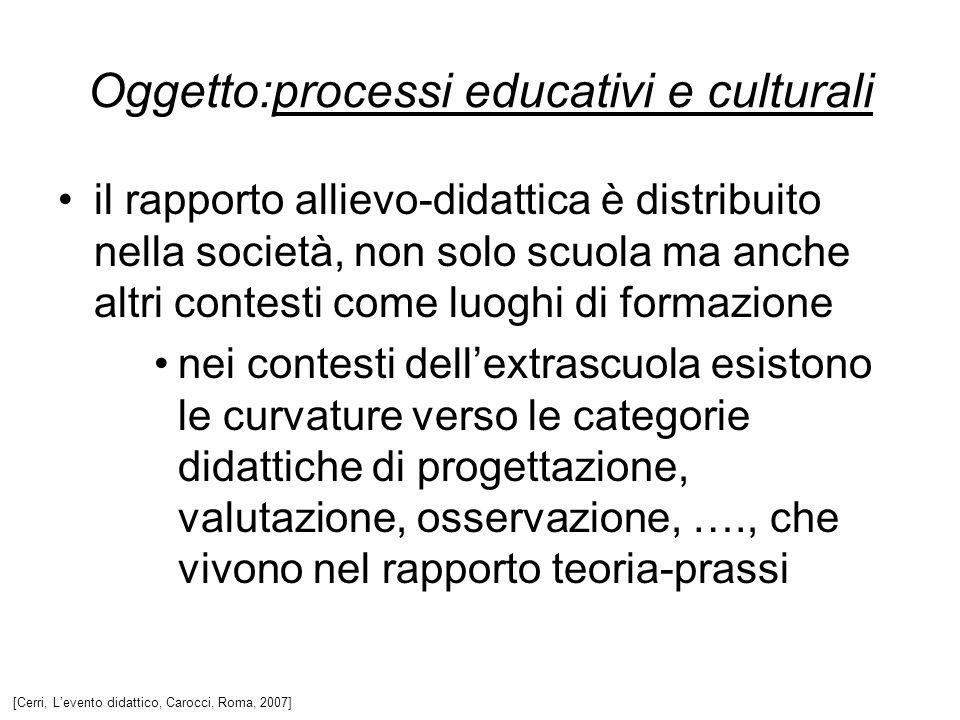 il rapporto allievo-didattica è distribuito nella società, non solo scuola ma anche altri contesti come luoghi di formazione nei contesti dellextrascu