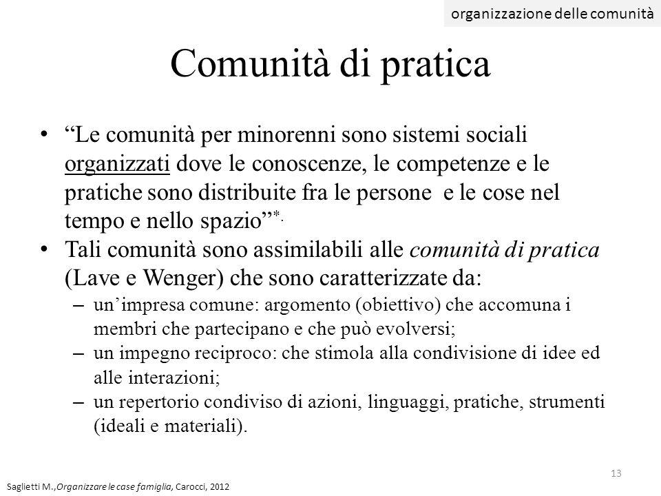 Comunità di pratica Le comunità per minorenni sono sistemi sociali organizzati dove le conoscenze, le competenze e le pratiche sono distribuite fra le