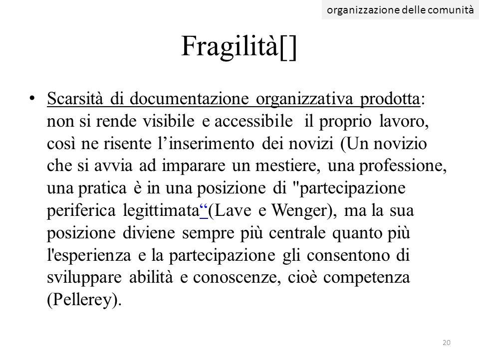 Scarsità di documentazione organizzativa prodotta: non si rende visibile e accessibile il proprio lavoro, così ne risente linserimento dei novizi (Un