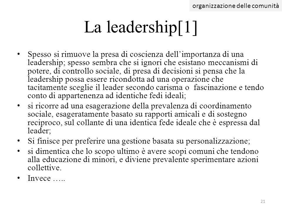 La leadership[1] Spesso si rimuove la presa di coscienza dellimportanza di una leadership; spesso sembra che si ignori che esistano meccanismi di pote