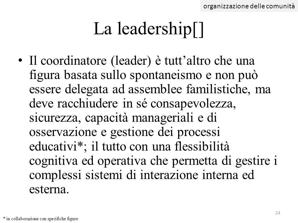 Il coordinatore (leader) è tuttaltro che una figura basata sullo spontaneismo e non può essere delegata ad assemblee familistiche, ma deve racchiudere