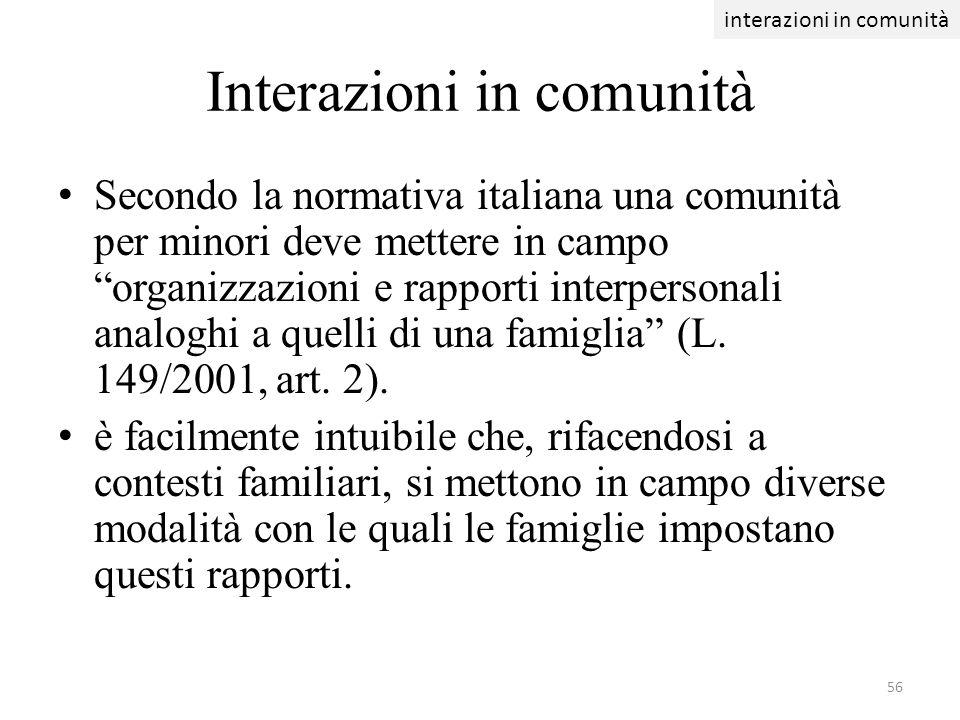 Interazioni in comunità Secondo la normativa italiana una comunità per minori deve mettere in campo organizzazioni e rapporti interpersonali analoghi
