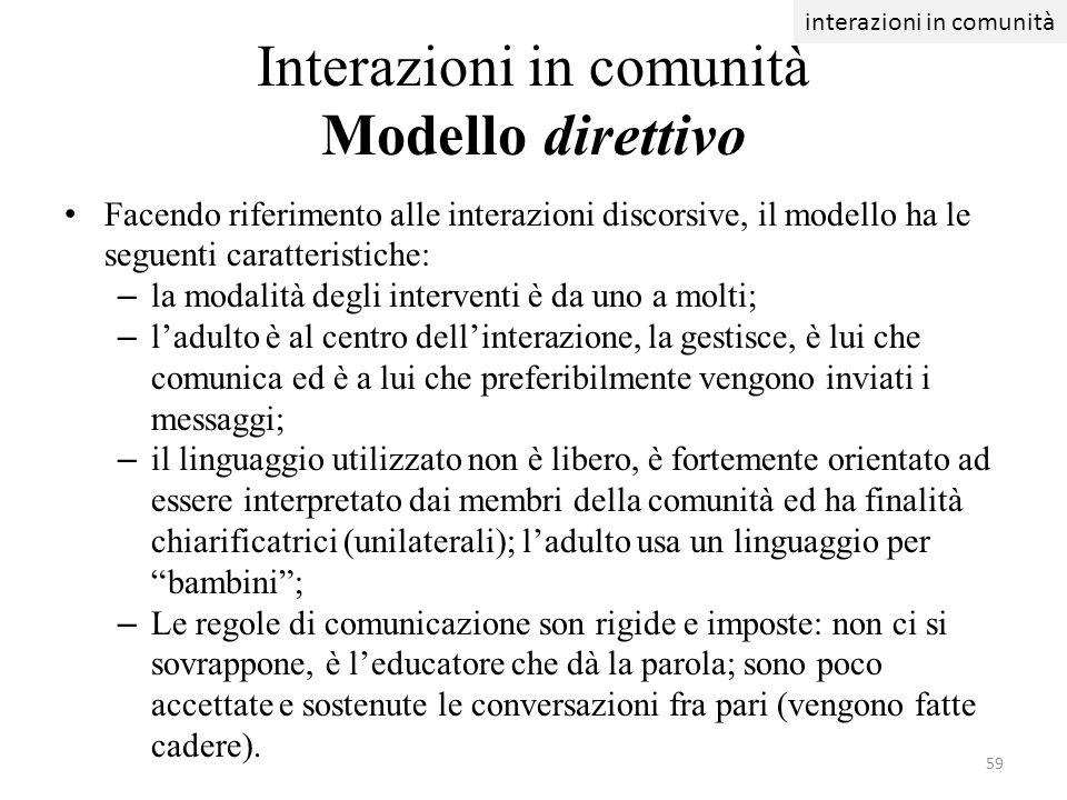 Interazioni in comunità Modello direttivo Facendo riferimento alle interazioni discorsive, il modello ha le seguenti caratteristiche: – la modalità de