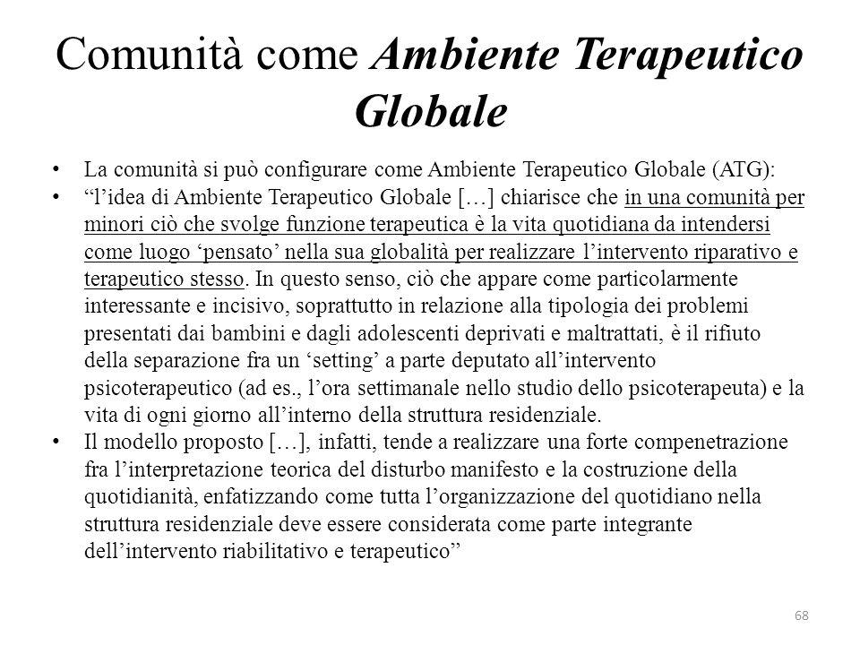 La comunità si può configurare come Ambiente Terapeutico Globale (ATG): lidea di Ambiente Terapeutico Globale […] chiarisce che in una comunità per mi
