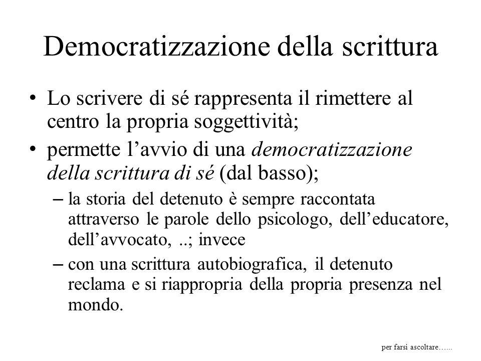 Democratizzazione della scrittura Lo scrivere di sé rappresenta il rimettere al centro la propria soggettività; permette lavvio di una democratizzazio